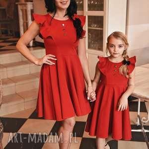 LATORI - Sukienka Damska z kolekcji Mama i Córka dla mamy LM45/3 (Czerwony)