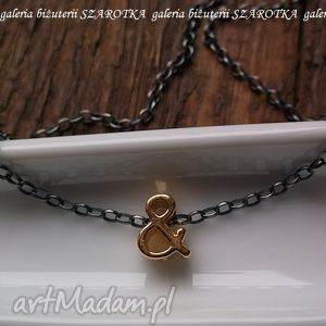 i... minimalistyczny naszyjnik ze srebra oksydowanego i złoconego, srebro, oksydowane