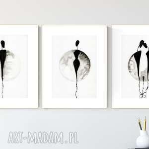 zestaw 3 oryginalnych grafiki a4 czarno-białych, elegancki minimalizm - obrazy