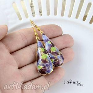 pod choinkę prezent, madame butterfly - kolczyki, cloisonne, retro, fiolet