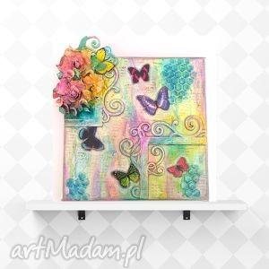 obrazy spring, ręcznie wykonany obraz w technice kolażu, kolaż, obraz, motyle