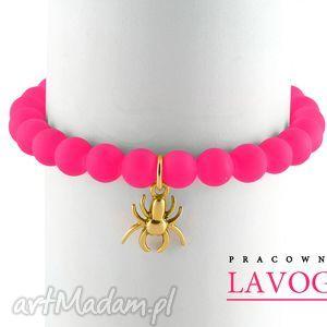 Pink neon & spider pendant. - ,neon,zawieszka,