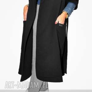 długi czarny płaszcz damski z paskiem xl, maxi, wiązany, casual, sportowy