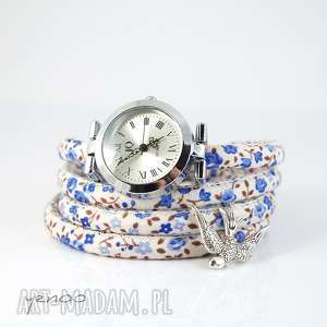 zegarek, bransoletka - jaskółka niebieskie kwiaty owijany