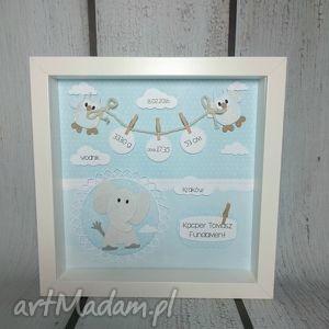 Prezent Metryczka ze słonikiem wbłękicie, metryczka, prezent, chrzest, narodziny