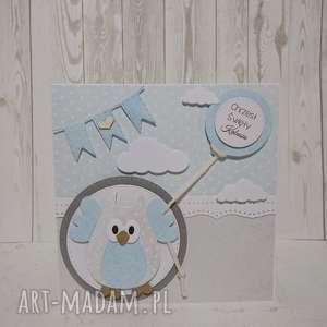 Zaproszenie / kartka sowa w chmurach z balonem, chrzest, urodziny, narodziny