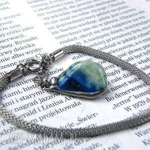 Bransoletka: Prosta z lapisem, lapis-lazuli, kamień, łańcuszek, zawieszka