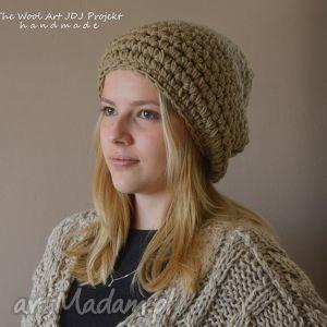 gruba duża czapka - czapka, weniana, beżowa, zimowa
