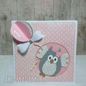 kartka zaproszenie sowa i trójwymiarowy balon - zaproszenie, sowa, narodziny, urodziny