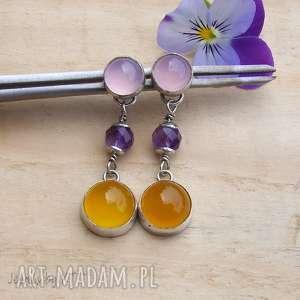 jewelsbykt pastelowo słoneczne - kolczyki, srebro kolczyki sztyfty