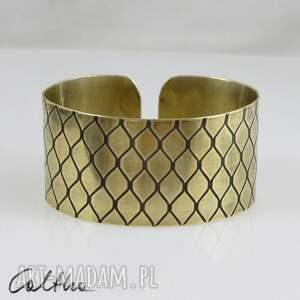 Smocza łuska - mosiężna bransoletka, bransoleta, szeroka, metalowa