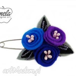 Broszka agrafka filcowa ULIO kwiaty charowo-fiolet , broszka, filc, kwiaty,
