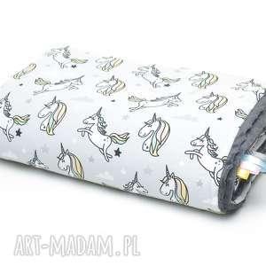 kocyk kołderka 100x135 minky bawełna jednorożce grafit
