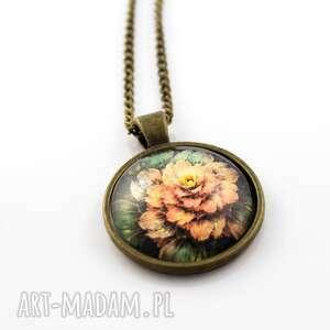 wisiorki medalion szklany kwiat, wisiorek, szklany, kaboszon, obrazek, vintage