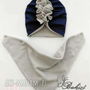 turban polarowy z chustą nr 19 (czapka, chusta, polar, bawełna zima)