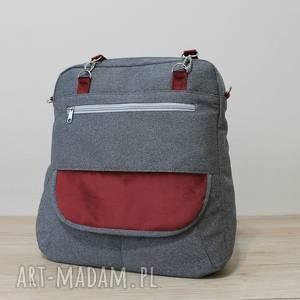 ręcznie robione plecak torba listonoszka - tkanina szara i dodatki bordowe