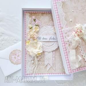karta w pudełku na ślub z kopertą pieniądze, ślub, kartka