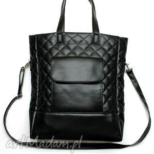 pod choinkę Shopper Bag pikowany - czarny, shopper, prezent, święta, pikowana
