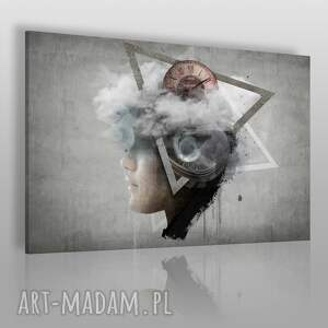 Obraz na płótnie - ABSTRAKCJA TWARZ 120x80 cm (26101), zegar, twarz, beton