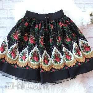 spódnice czarna spódnica góralska folkowa cleo z tiulem, spódnica, spódniczka