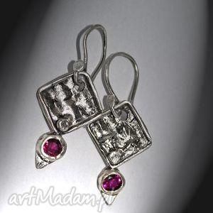 Rubinowe cyrkonie zgustem cyrkonie, srebro, 925, oryginalne