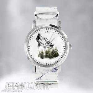 zegarek - wilk marmurkowy, nato, zegarek, bransoletka, las, wilk, prezent