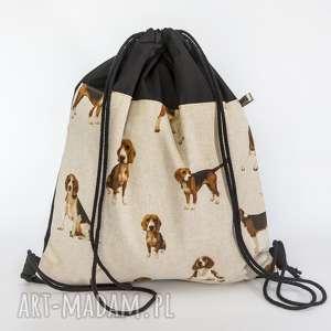 świat z beaglem, pies, beagle, worek, plecak