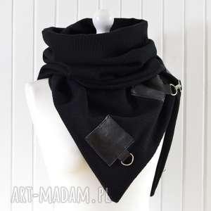 Ciepły szal wełniany- unisex, czarny szal, skóra i wełna, piękny, wełniany