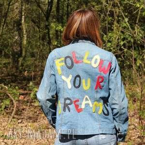 kurtka denim follow your dreams - kurtka, napis, marzenia, dżinsowa, naszywka, boho