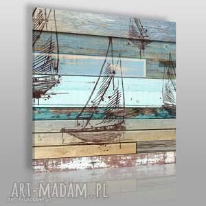 obraz na płótnie - żaglówka deski shabby chic w kwadracie 80x80 cm 72501