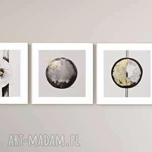 art krystyna siwek elegancki zestaw 3 grafik zdobiony płatkami szlagmetalu