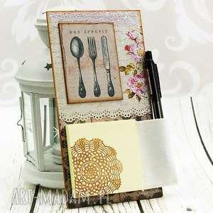 Notes na lodówkę- Bon Apetit, kuchnia, sztućce, zapiśnik, magnes, retro