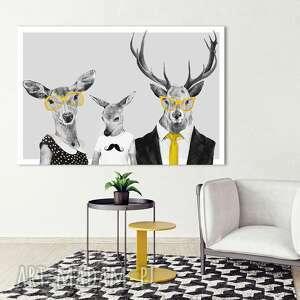 obraz na płótnie - 120x80cm rodzina jeleni w ubraniach, rodzice i syn 02358