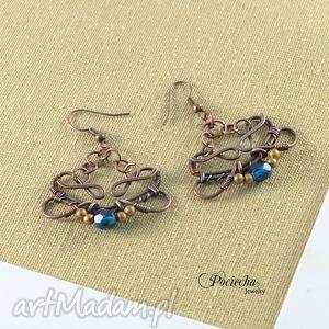 ręcznie wykonane kolczyki blue elegance - kolczyki z kryształkami szklanymi