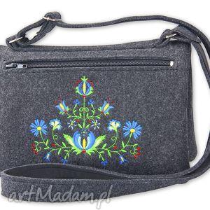 filcowa torebka podwójna - kwiaty t103004, torebka, kopertówka, folk, kaszubski, haft