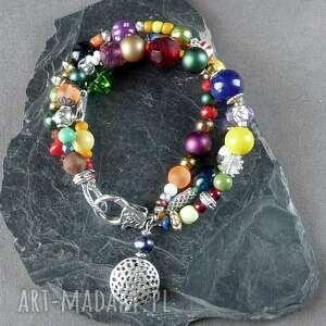 bransoletka bajecznie kolorowa w stylu boho z mnóstwa korali, urocza i bardzo