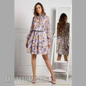 sukienka sorina mini emanuella, z wiązaniem, mini, pastelowa