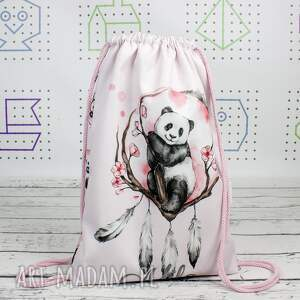 ręcznie zrobione dla dziecka worek z imieniem panda boho