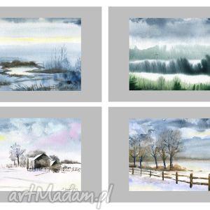 akwarere - zestaw 4 zimowych pejzaży , akwarela, pejzaż, obraz, akwarele, krajobraz