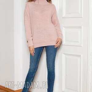 sweter oversize z golfem - swe148 róż, golfem, ciepły sweter, gruby