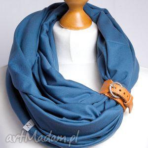 bawełniany komin tuba w kolorze niebieskim, z zapinką, szal, dodatki