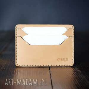 portfel skórzany na karty ręcznie szyty model mini, męski
