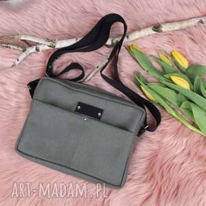 handmade na ramię torba oliwkowa pojemna box
