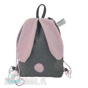 ręcznie zrobione dla dziecka worek-plecak królik róż