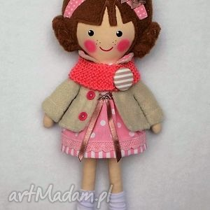 lalki malowana lala michalinka z wełnianym szalikiem, lalka, zabawka, przytulanka