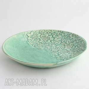 handmade ceramika talerz zielony kwiatowy
