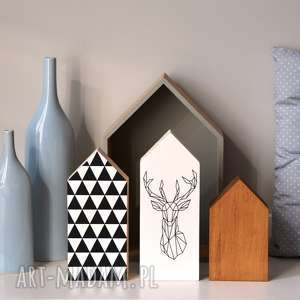 3 x domki drewniane, domki, domek, trójkąty, jeleń, drewniany, drewna