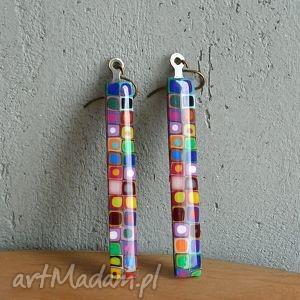 kolczyki z mosiądzu, długie, wiszące, kolorowe, tęczowe, geometryczne, błyszczące