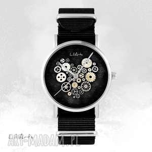 ręcznie robione zegarki zegarek - steampunk heart, czarne czarny, nato