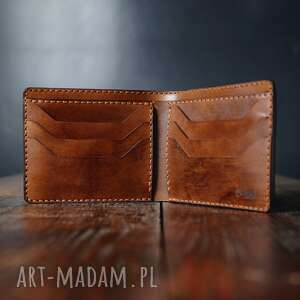 handmade portfele męski portfel skórzany ciemny brąz model poziomy